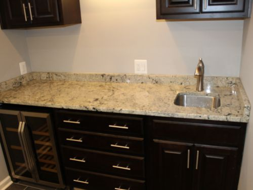 Granite countertop with a sink