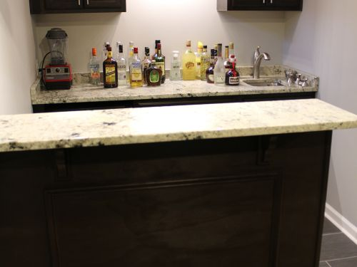 In-home bar stocked with liquor