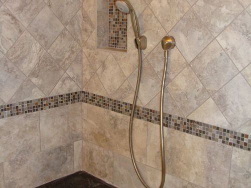 Close up of remodeled shower interior